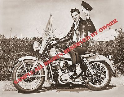 ELVIS PRESLEY ON MOTOR CYCLE 1950`s IN LEATHERS 5x7 on Rummage