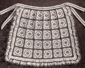 Vintage-Crochet-PATTERN-Granny-Square-Motif-Tea-Apron