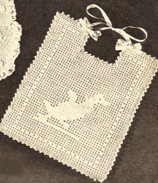 Vintage Filet Crochet Baby Bib Pattern Ducky Duck Chart Ebay