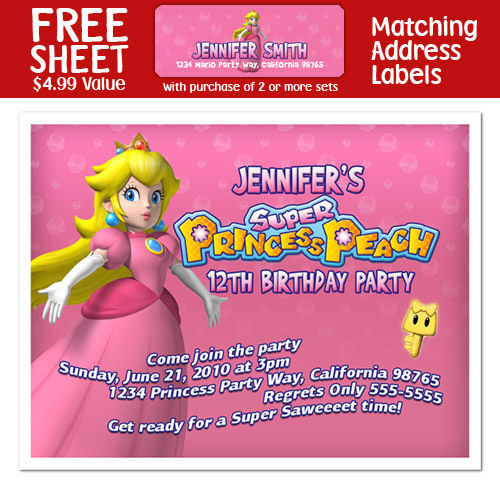 8 PRINCESS PEACH Birthday Party Personalized INVITATIONS