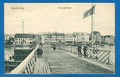 Sonderburg, Pontonbrücke mit Kindern, 1912