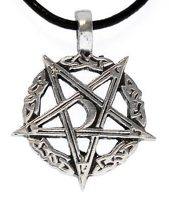Pentagram Inverted Pewter Pendant Leather Necklace