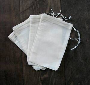 100 (3x5) Cotton Muslin Drawstring Bags Bath Soap Herbs