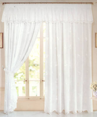 Louise Lined Voile Pencil Pleat Curtains Pelmet Not Included 92x72 ...