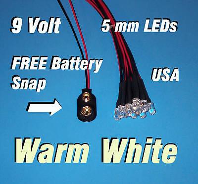 10 X Led -5mm Pre Wired Leds 9 Volt Warm White 9v Usa