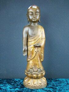 Buddha-Bronze-Tibet-Skulptur-Moench-Asiatika-45-cm
