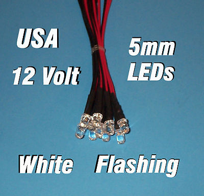 10 Flashing Leds 5mm Pre Wired 12 Volt White 12v Blink