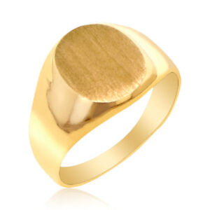 MEN'S 14K SOLID  YELLOW GOLD SIGNET RING BAND IDEAL FOR PERSONALIZATION-ENGRAVE