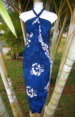 Sarong Dark Blue Hibiscus Pareo Wrap Hawaiian Beach Cruise Pool Luau Dress