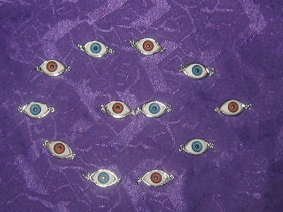 Wholesale Lot Of 6 Blue-6 Brown Eyeball Pendant Charms