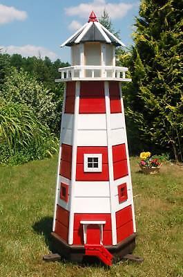 Riesiger XXL Leuchtturm mit Solar Beleuchtung 1,40m rot/weiss, LED, Gartendeko