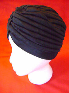 NEW-HEAD-WRAP-INDIAN-STYLE-TURBAN-HAT-BLACK-N