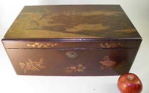 ANTIQUE-CHINOISERIE-WOOD-LACQUER-LAP-DESK-BOX