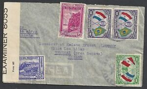 Paraguay 1942 cens R-Airmailcover to Vesenaz