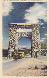 YELLOWSTONE-PARK-NORTH-ENTRANCE-ARCH-LINEN-POSTCARD