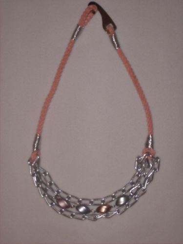 "3-Strand 33"" Metal & Bead Necklace on Orange Rope"
