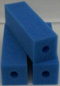 Filterschaum  Schaumpatrone 10 X 10 X 50 cm PPi 20 mittelporig Bohrung 32 mm Koi