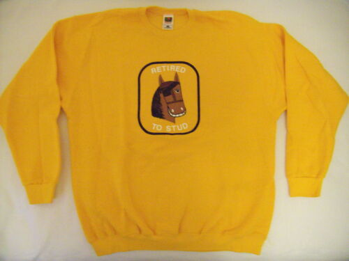 New Men Horse Gold Sweatshirt XXL Hvy Fruit of the Loom