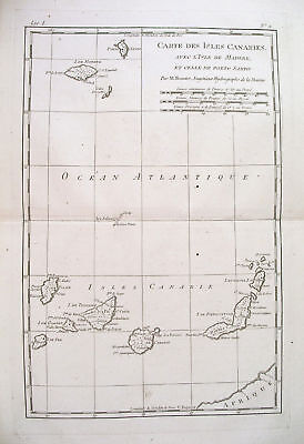 1780 Genuine Antique map of Canary Islands by  Bonne