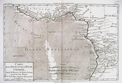 1780 Genuine Antique map of Guinea by  Rigobert Bonne