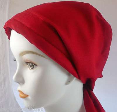 Womans Chemo Scarf Cancer Hat Head Wrap Red Padded Elastic Hair Loss Scarf