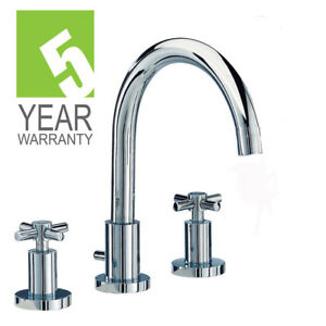 3 HOLE BATHROOM BASIN MIXER TAP with Slotted Waste