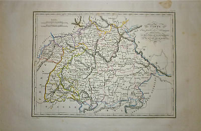 1834 Genuine Antique map Southern Germany. Malte-Brun