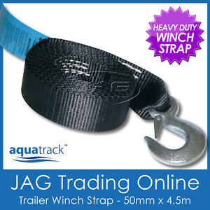 4-5M-x50mm-BOAT-TRAILER-WINCH-WEBBING-STRAP-SNAP-HOOK