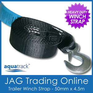 4-5M-x-50mm-AQUATRACK-BOAT-TRAILER-WINCH-WEBBING-STRAP-SNAP-HOOK