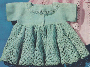 Vintage-Crochet-PATTERN-to-make-Thread-Baby-Sacque-Sweater-Dress-Frilly-GreenCro