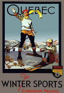 Decor-Travel-Poster-Fine-Graphic-Art-Design-Ski-Quebec-Winter-Home-Wall-Art-682