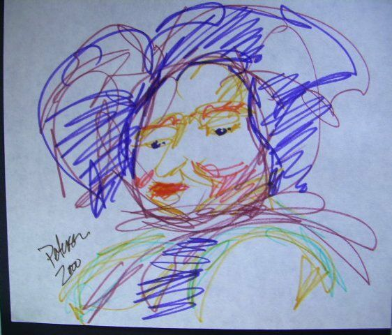 Original ART colored ink pen drawing C PETERSON a villager lady = IMPRESSIONIST