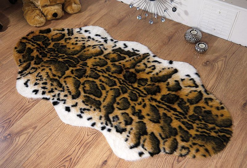 Snow Leopard Animal Print Faux Fur Sheepskin Rug 70x140 Ebay