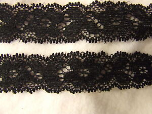 2 Metres 22 mm Black Elastic Lace Trimming Card Making Sewing Lingerie Embellish