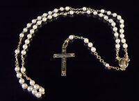 Pequeño Plástico Blanco Perlas Cristiano Rosario Cuentas 5mm En Oro Chain -  - ebay.es