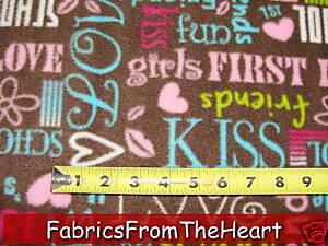 Girly-Words-First-Love-School-Kiss-Friend-FLEECE-Fabric