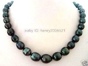 SOUTH SEA Baroque Black PEARL 9-10 mm  NECKLACE 18