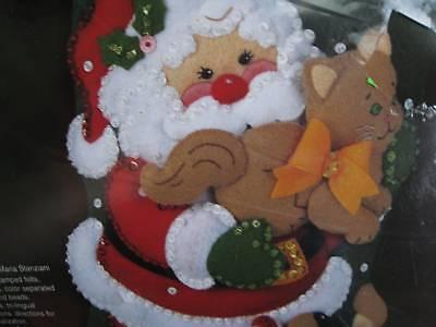 Bucilla Christmas Stocking Felt Applique Kit Santa Pets ...