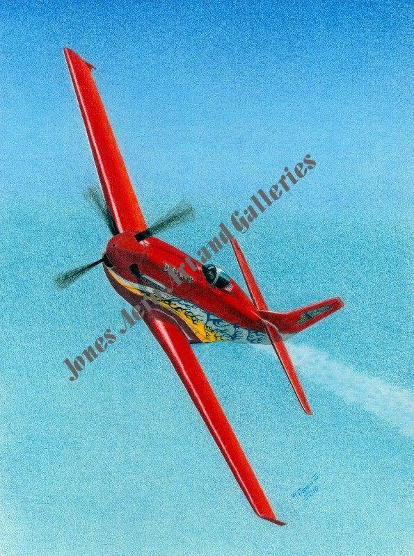 """Dago Red"" Reno Air Race Champion P-51D Mustang Art Print by Willie Jones Jr"