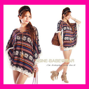 VINTAGE RETRO INDIAN BOHO PONCHO TOP SZ 6 8 10 12