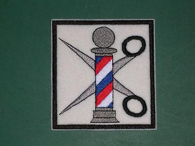 Barber Pole Embroidered Design 4 Jacket Smock Scissors Patch Sew-on Black White