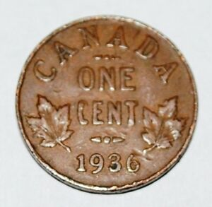Canada-1936-1-Cent-Copper-Coin-One-Canadian-Penny-Nice