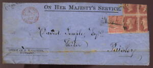 GB QV 1863 4d + 1d RED on TRIMMED OHMS HM GAZETTE COVER