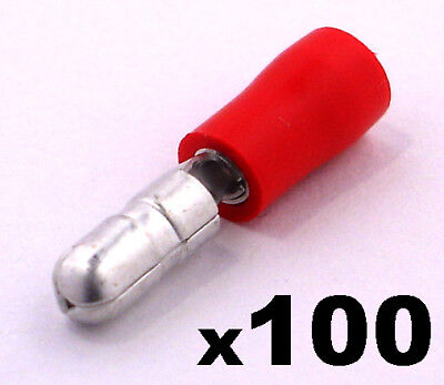 100x Red Male Insulated Bullet Connector Terminals- Crimp electrical cable wire