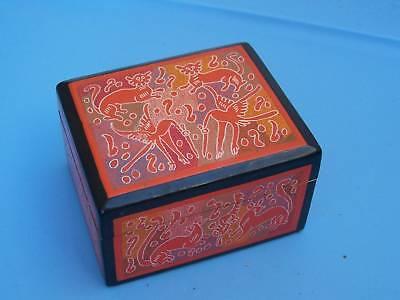 Delicately Painted Wooden Jewelry Box Patzcuaro, Mexico