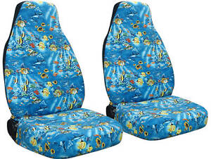 Image Is Loading 2 Front Tropical Fish Seat Covers