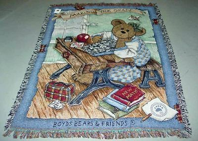 Boyds Bears Making The Grade Tapestry Afghan Throw