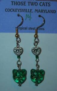 Cat-Face-Dangle-Earrings-with-Hearts-Green-FREE-SHIPPING