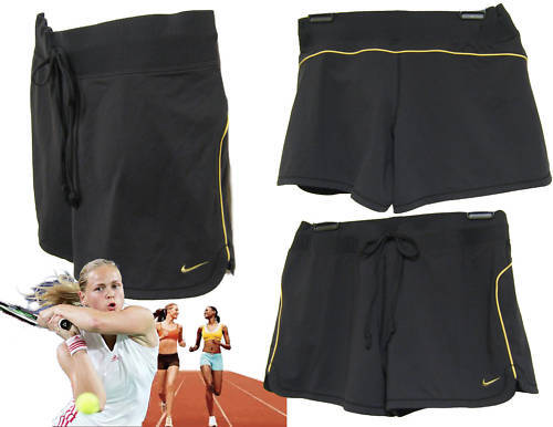 New Nike NikeFit Ladies TENNIS FITNESS Shorts Size L Black