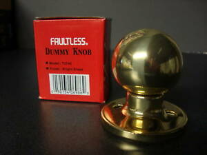 Faultless-Bright-Brass-Dummy-Knob-T3740-Tubular-lockset
